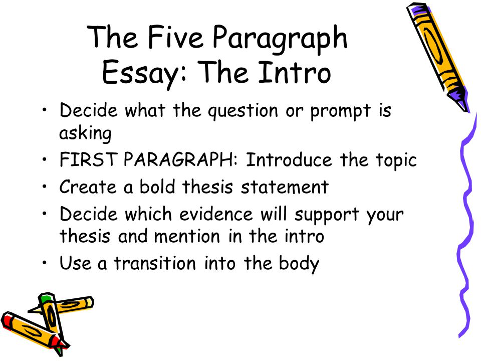The Five Paragraph Essay: The Intro Decide what the question or prompt is asking FIRST PARAGRAPH: Introduce the topic Create a bold thesis statement Decide which evidence will support your thesis and mention in the intro Use a transition into the body