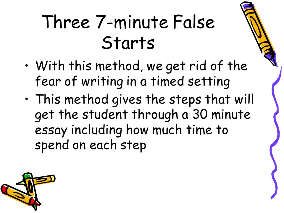 Three 7-minute False Starts With this method, we get rid of the fear of writing in a timed setting This method gives the steps that will get the student through a 30 minute essay including how much time to spend on each step