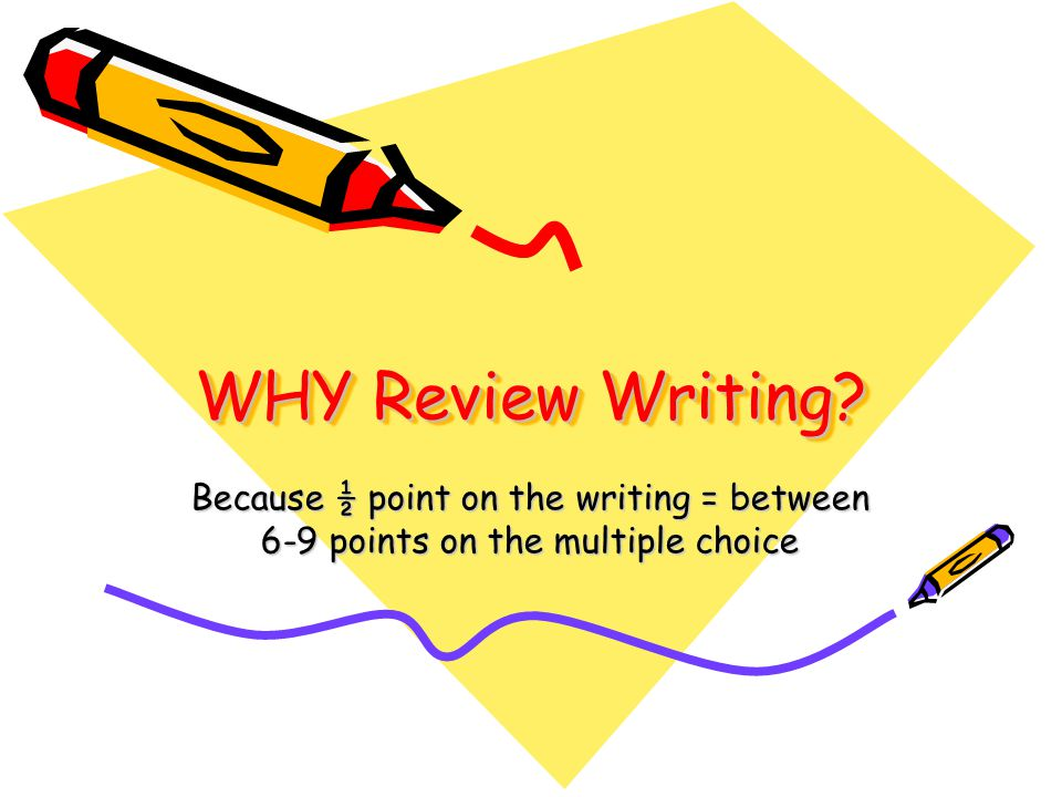 WHY Review Writing Because ½ point on the writing = between 6-9 points on the multiple choice