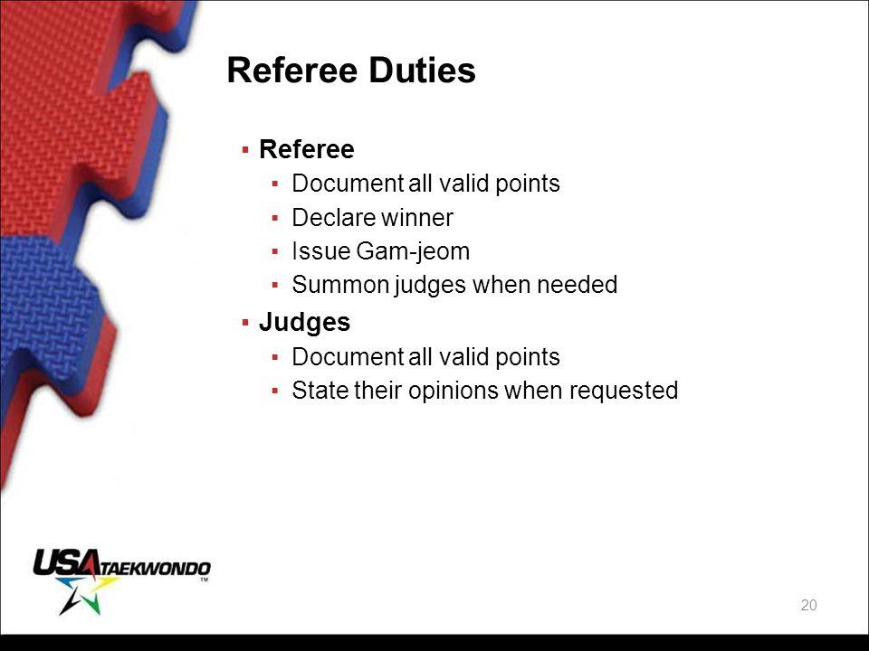 Referee Duties ▪Referee ▪Document all valid points ▪Declare winner ▪Issue Gam-jeom ▪Summon judges when needed ▪Judges ▪Document all valid points ▪Stat