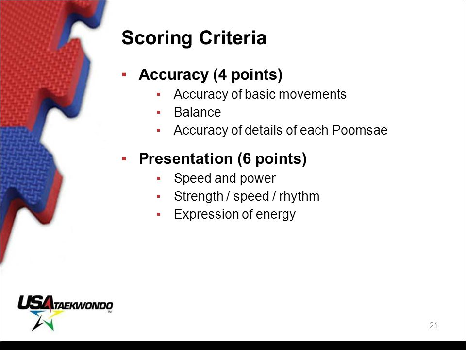 Scoring Criteria ▪Accuracy (4 points) ▪Accuracy of basic movements ▪Balance ▪Accuracy of details of each Poomsae ▪Presentation (6 points) ▪Speed and p