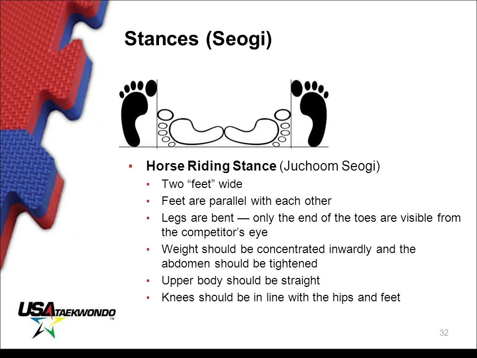 """Stances (Seogi) ▪Horse Riding Stance (Juchoom Seogi) ▪ Two """"feet"""" wide ▪ Feet are parallel with each other ▪ Legs are bent — only the end of the toes"""