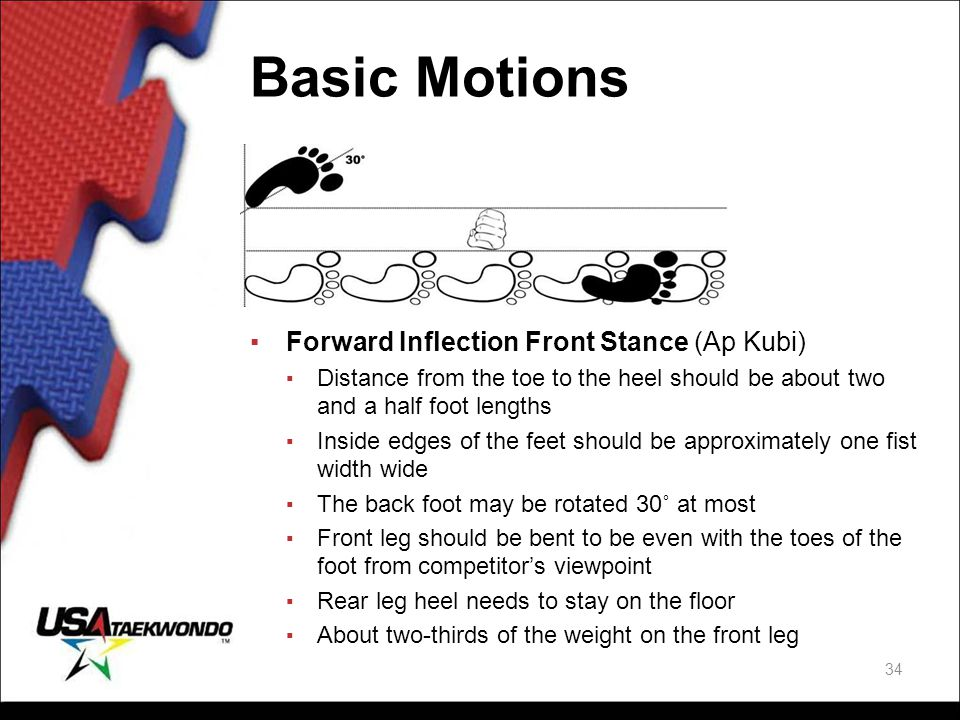 Basic Motions ▪Forward Inflection Front Stance (Ap Kubi) ▪ Distance from the toe to the heel should be about two and a half foot lengths ▪ Inside edge