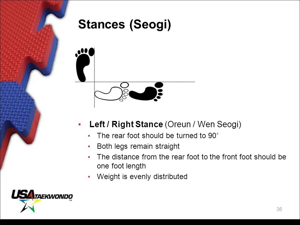 Stances (Seogi) ▪Left / Right Stance (Oreun / Wen Seogi) ▪ The rear foot should be turned to 90˚ ▪ Both legs remain straight ▪ The distance from the r