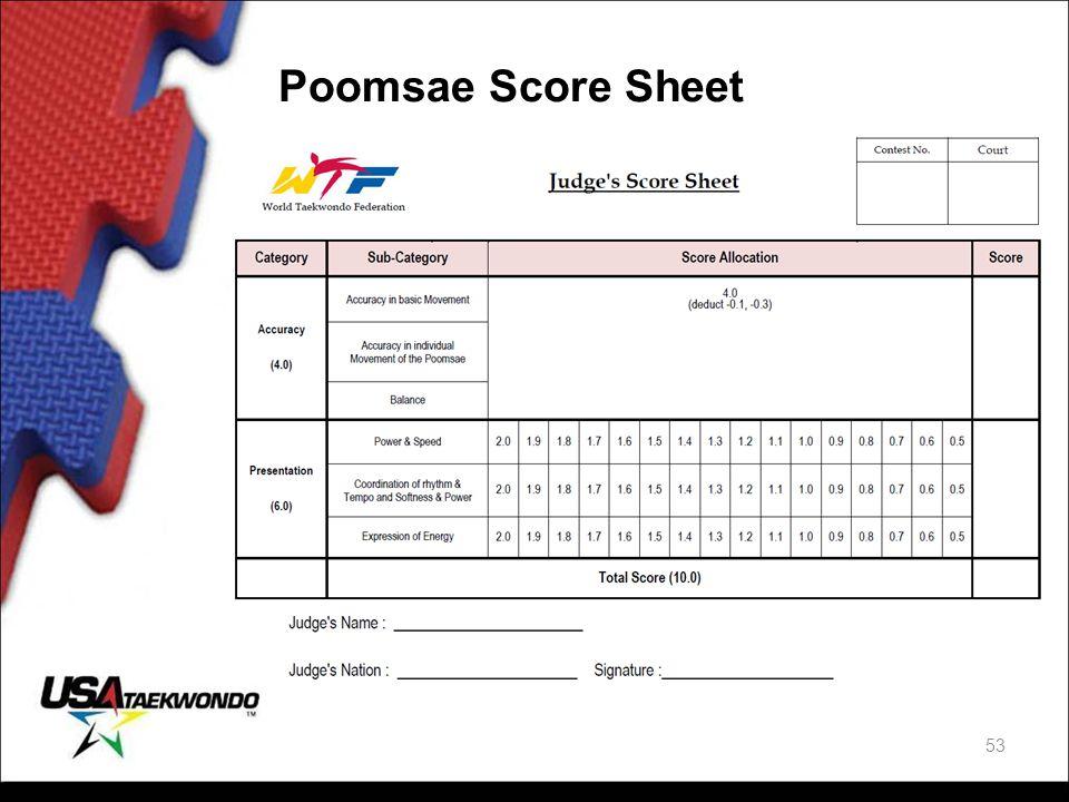 Poomsae Score Sheet 53