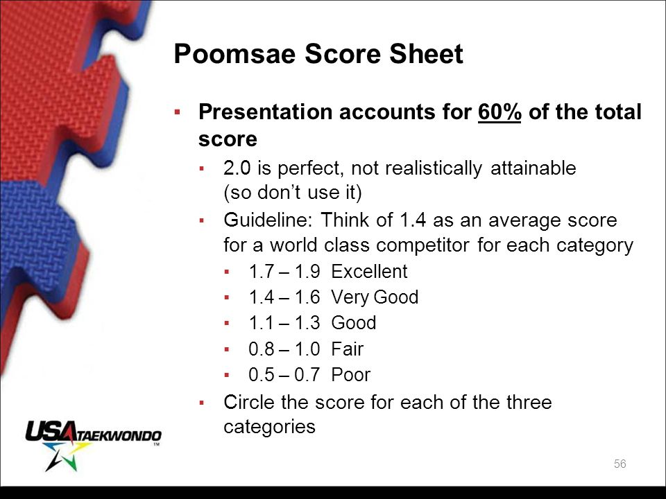 Poomsae Score Sheet ▪Presentation accounts for 60% of the total score ▪ 2.0 is perfect, not realistically attainable (so don't use it) ▪ Guideline: Th
