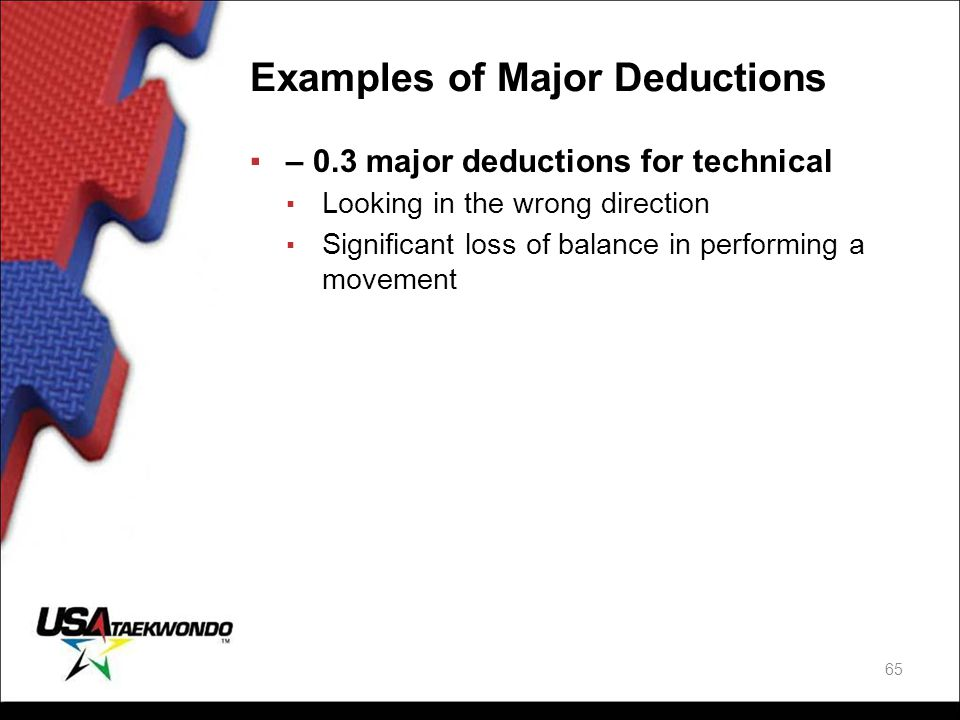 Examples of Major Deductions ▪– 0.3 major deductions for technical ▪ Looking in the wrong direction ▪ Significant loss of balance in performing a move