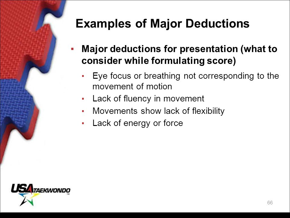 Examples of Major Deductions ▪Major deductions for presentation (what to consider while formulating score) ▪ Eye focus or breathing not corresponding
