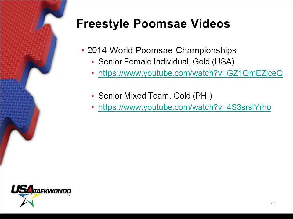 Freestyle Poomsae Videos ▪2014 World Poomsae Championships ▪Senior Female Individual, Gold (USA) ▪https://www.youtube.com/watch?v=GZ1QmEZjceQhttps://w