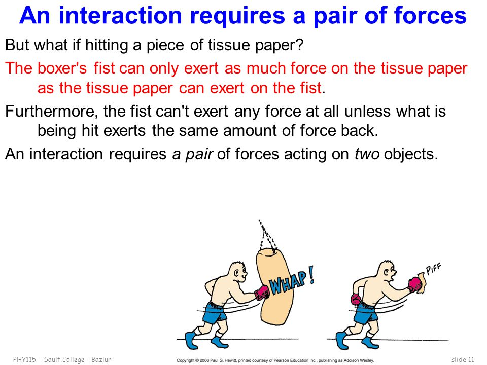 PHY115 – Sault College – Bazlurslide 11 An interaction requires a pair of forces But what if hitting a piece of tissue paper? The boxer's fist can onl