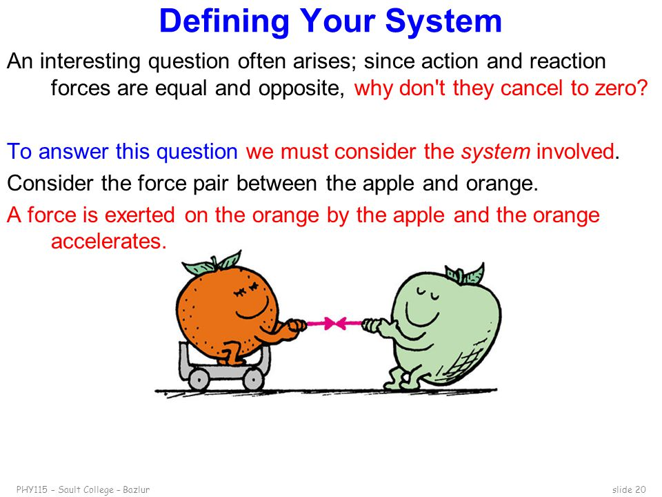 PHY115 – Sault College – Bazlurslide 20 Defining Your System An interesting question often arises; since action and reaction forces are equal and oppo