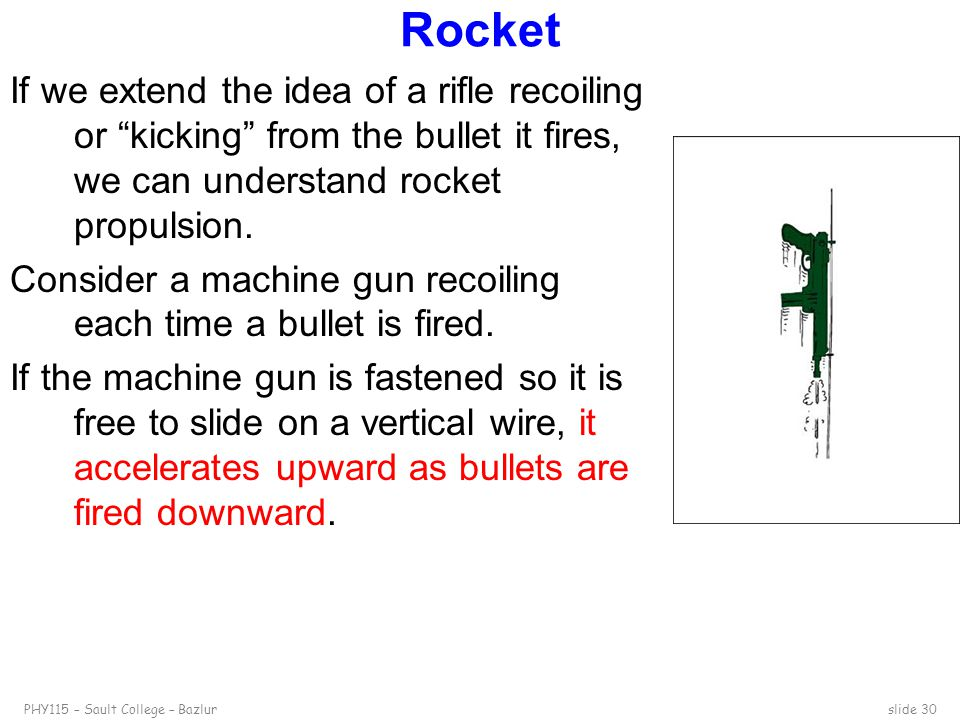 """PHY115 – Sault College – Bazlurslide 30 Rocket If we extend the idea of a rifle recoiling or """"kicking"""" from the bullet it fires, we can understand roc"""