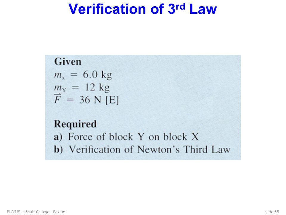 PHY115 – Sault College – Bazlurslide 35 Verification of 3 rd Law