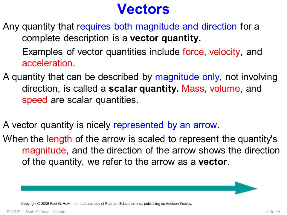 PHY115 – Sault College – Bazlurslide 46 Vectors Any quantity that requires both magnitude and direction for a complete description is a vector quantit