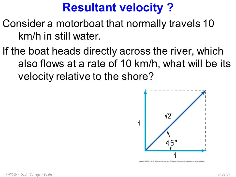 PHY115 – Sault College – Bazlurslide 59 Resultant velocity ? Consider a motorboat that normally travels 10 km/h in still water. If the boat heads dire