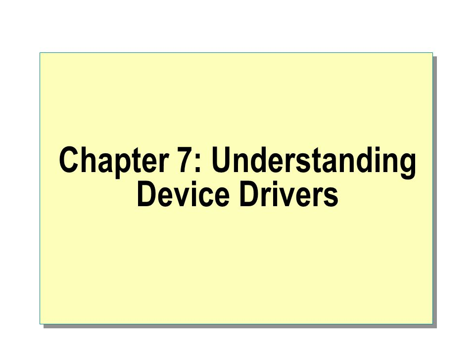 Device Manager The goal of a user-level process is to: Load device drivers either at startup or on connection notifications Register special file names in the system Locate device drivers by obtaining PnP ID or by executing detection routines Track device drivers by reading and writing registry values Unload device drivers