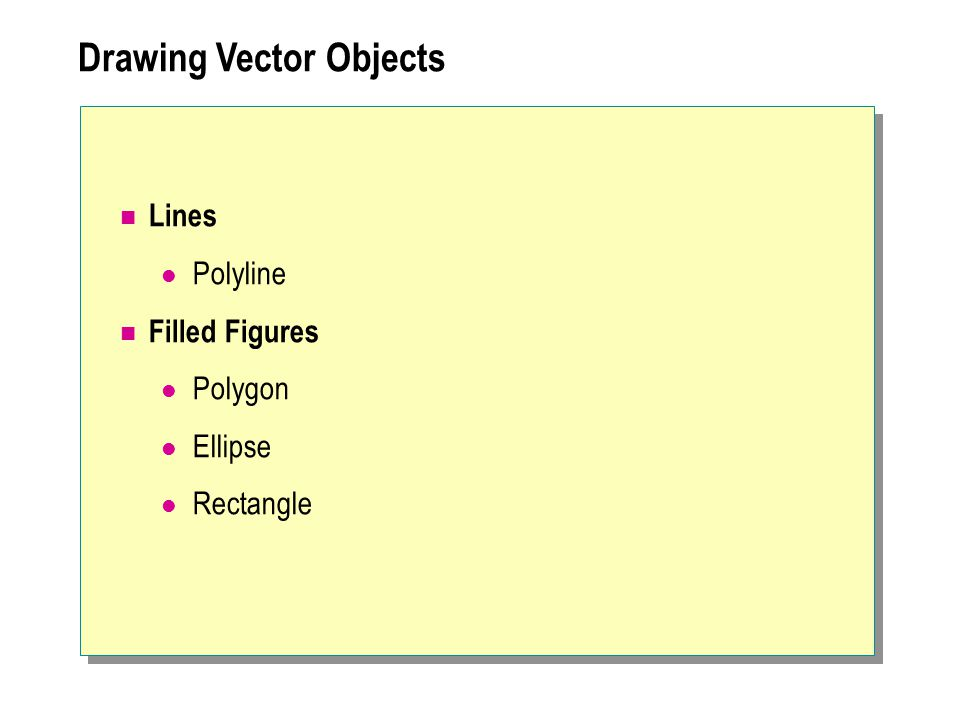 Lines Polyline Filled Figures Polygon Ellipse Rectangle Drawing Vector Objects
