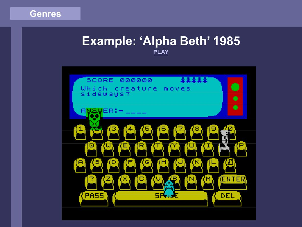 Genres Example: 'Alpha Beth' 1985 PLAY