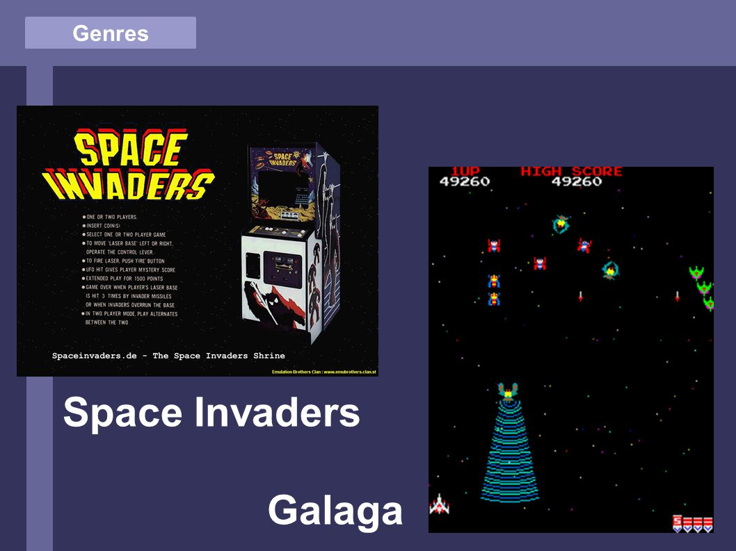 Genres Space Invaders Galaga