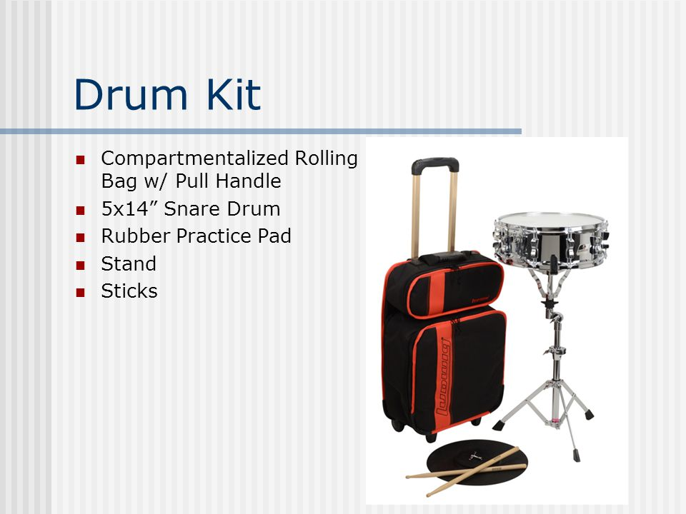 Drum Kit Compartmentalized Rolling Bag w/ Pull Handle 5x14 Snare Drum Rubber Practice Pad Stand Sticks