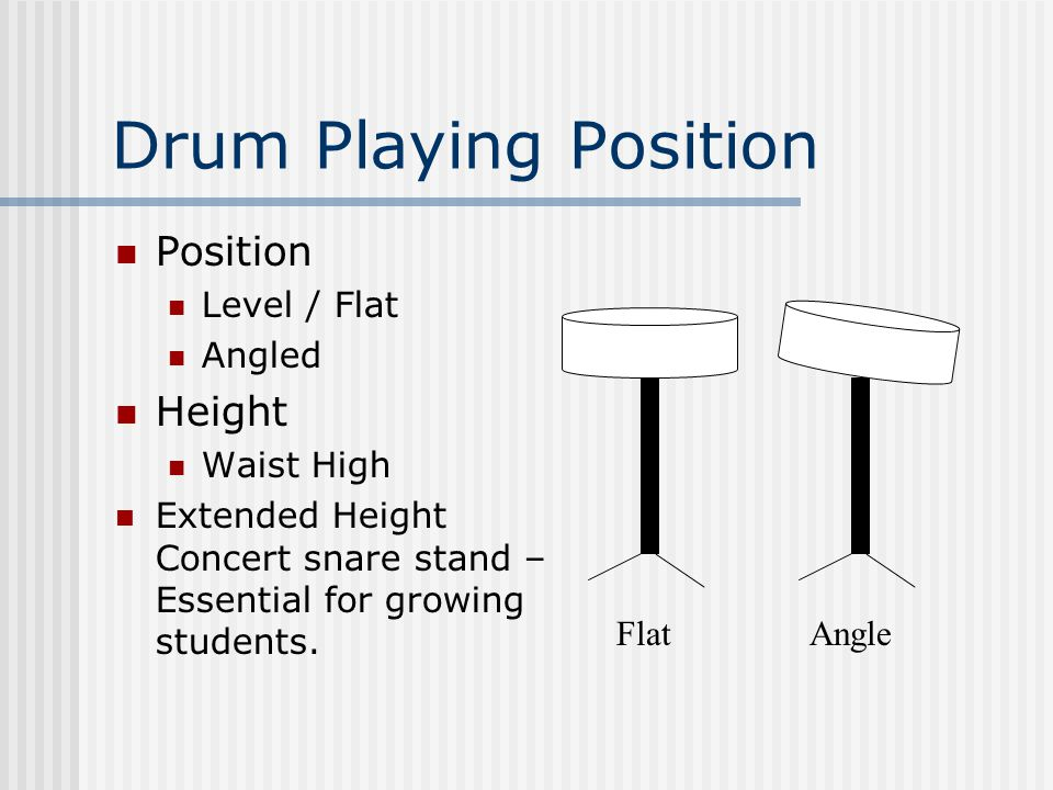 Drum Playing Position Position Level / Flat Angled Height Waist High Extended Height Concert snare stand – Essential for growing students.