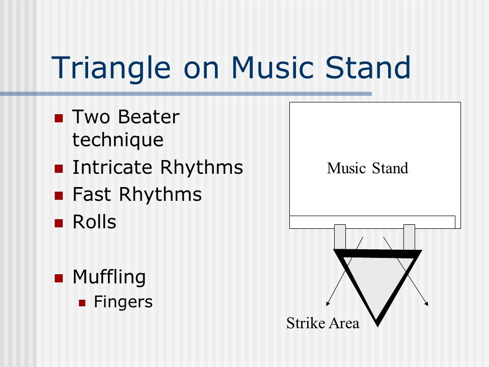 Triangle on Music Stand Two Beater technique Intricate Rhythms Fast Rhythms Rolls Muffling Fingers Strike Area Music Stand