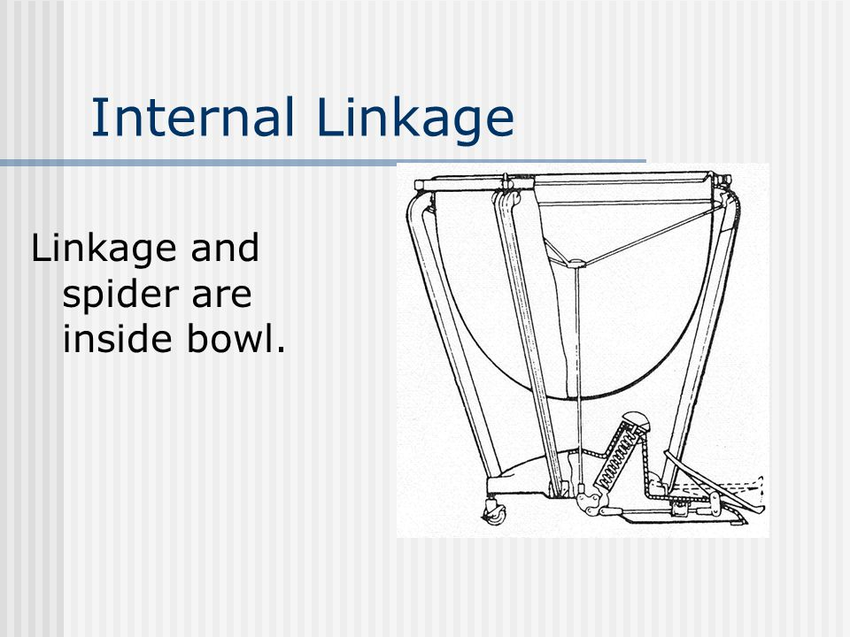 Internal Linkage Linkage and spider are inside bowl.
