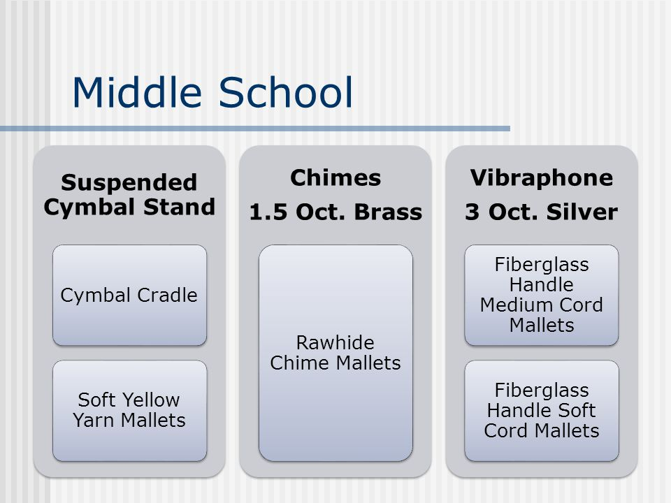 Middle School Suspended Cymbal Stand Cymbal Cradle Soft Yellow Yarn Mallets Chimes 1.5 Oct.