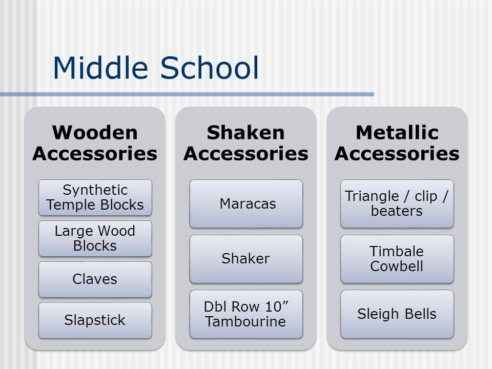 Middle School Wooden Accessories Synthetic Temple Blocks Large Wood Blocks ClavesSlapstick Shaken Accessories MaracasShaker Dbl Row 10 Tambourine Metallic Accessories Triangle / clip / beaters Timbale Cowbell Sleigh Bells