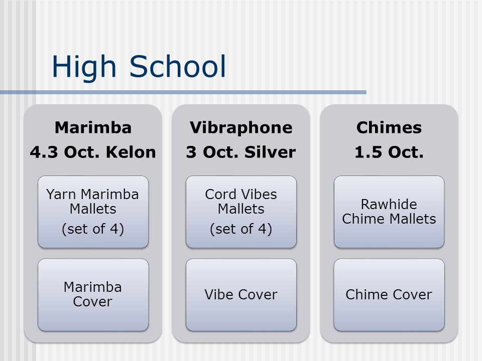 High School Marimba 4.3 Oct. Kelon Yarn Marimba Mallets (set of 4) Marimba Cover Vibraphone 3 Oct.