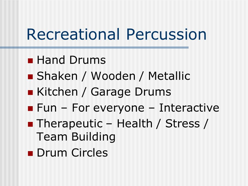 Recreational Percussion Hand Drums Shaken / Wooden / Metallic Kitchen / Garage Drums Fun – For everyone – Interactive Therapeutic – Health / Stress / Team Building Drum Circles