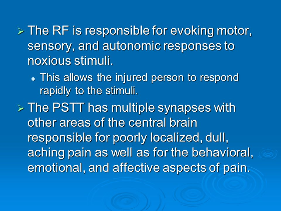  The RF is responsible for evoking motor, sensory, and autonomic responses to noxious stimuli. This allows the injured person to respond rapidly to t