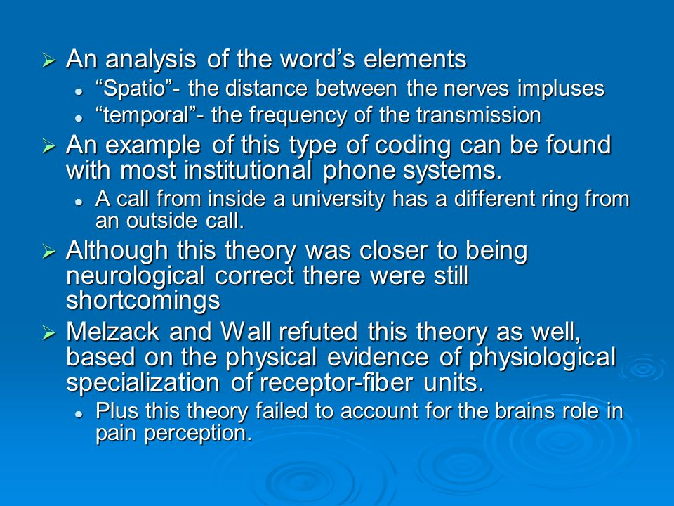 """ An analysis of the word's elements """"Spatio""""- the distance between the nerves impluses """"Spatio""""- the distance between the nerves impluses """"temporal""""-"""
