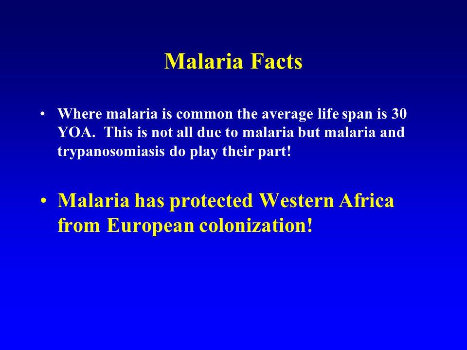 Malaria Facts Where malaria is common the average life span is 30 YOA.