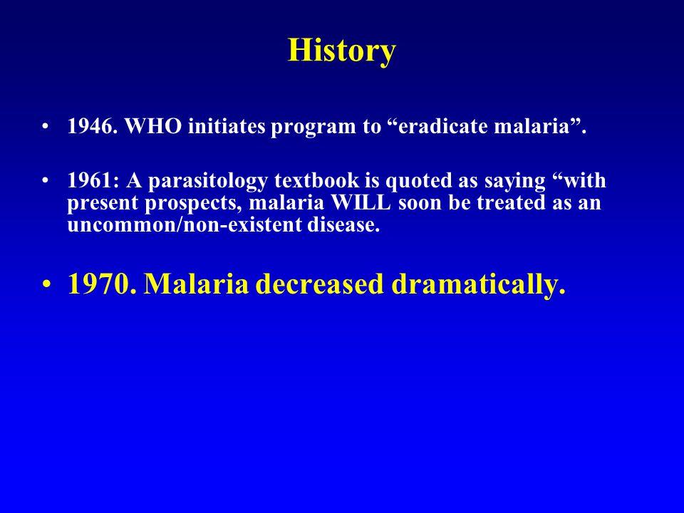 1946. WHO initiates program to eradicate malaria .