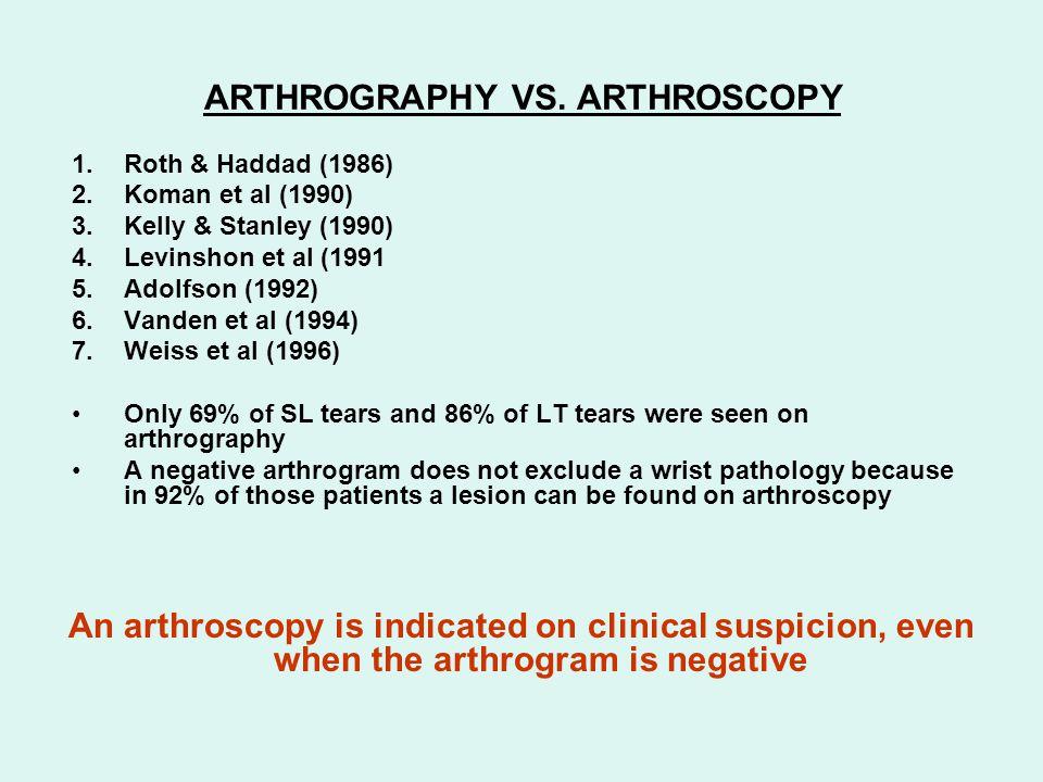 MRI vs.ARTHROGRAPHY VS.