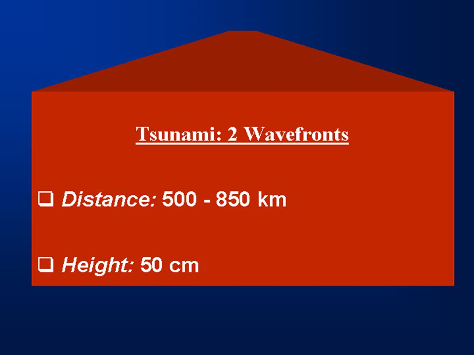 Tsunami: 2 Wavefronts  Distance: 500 - 850 km  Height: 50 cm
