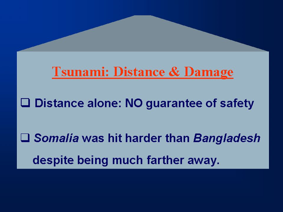 Tsunami: Distance & Damage  Distance alone: NO guarantee of safety  Somalia was hit harder than Bangladesh despite being much farther away.