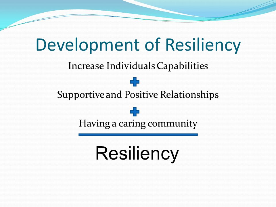 Development of Resiliency Increase Individuals Capabilities Supportive and Positive Relationships Having a caring community Resiliency