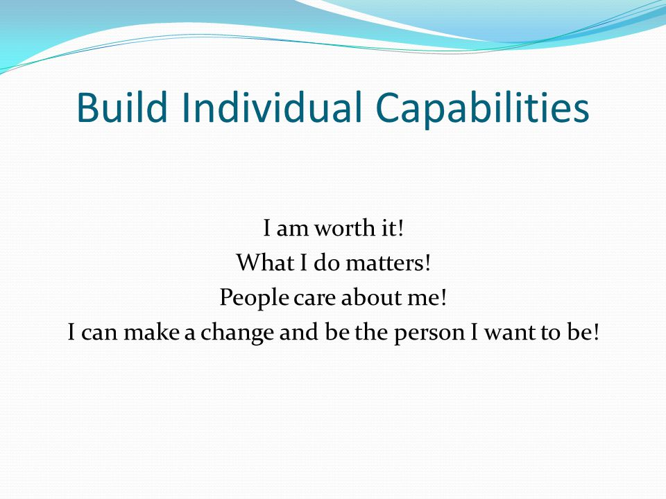 Build Individual Capabilities I am worth it.What I do matters.