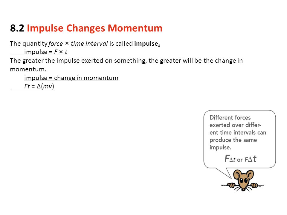 The quantity force × time interval is called impulse.