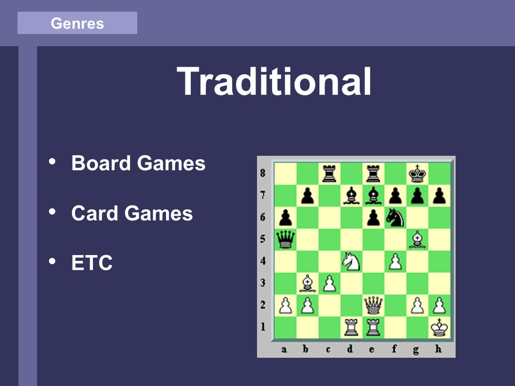 Genres Traditional Board Games Card Games ETC