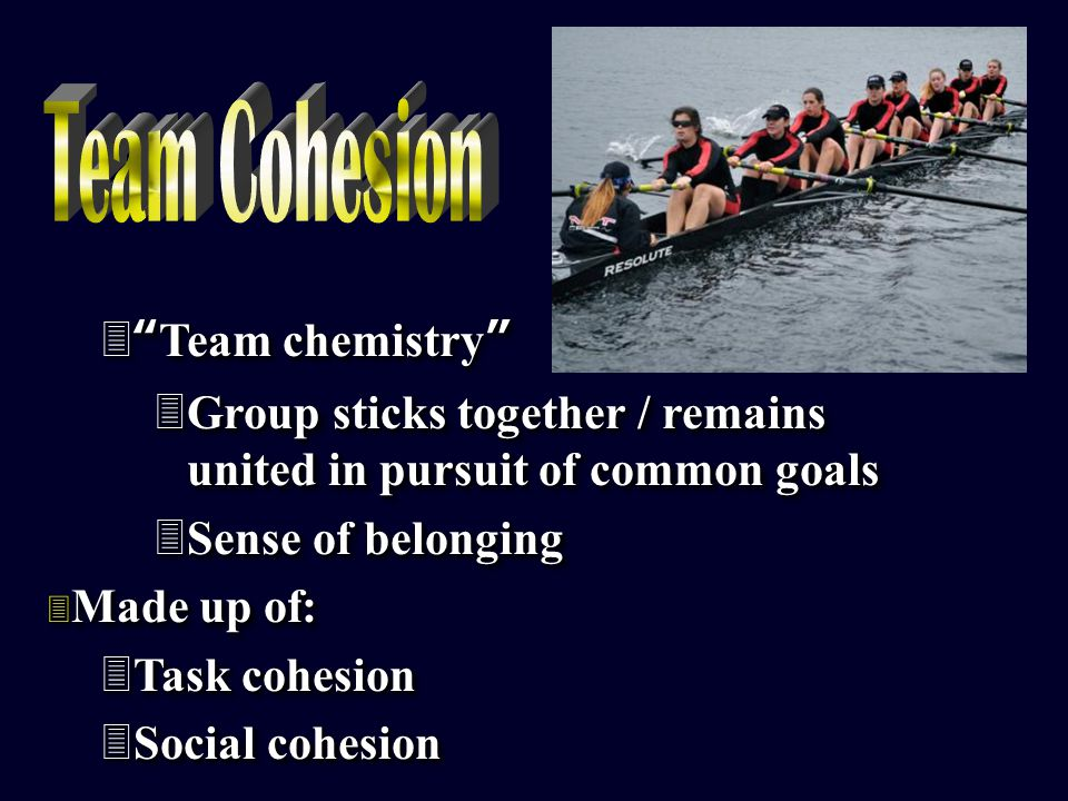  Team chemistry 3Group sticks together / remains united in pursuit of common goals 3Sense of belonging 3 Made up of: 3Task cohesion 3Social cohesion  Team chemistry 3Group sticks together / remains united in pursuit of common goals 3Sense of belonging 3 Made up of: 3Task cohesion 3Social cohesion