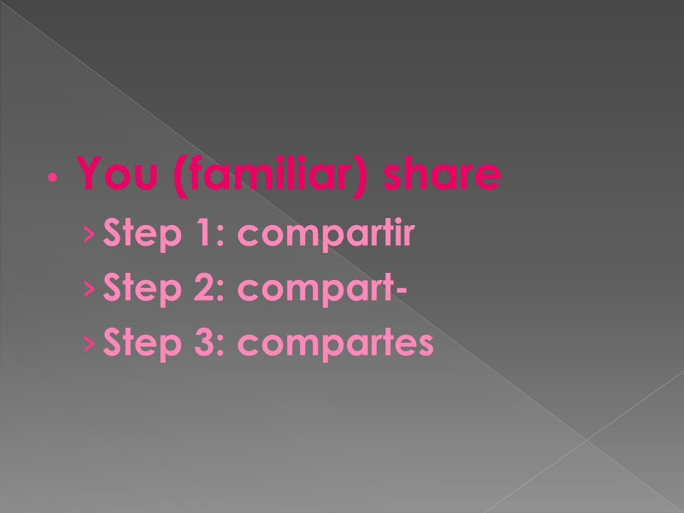 You (familiar) share › Step 1: compartir › Step 2: compart- › Step 3: compartes