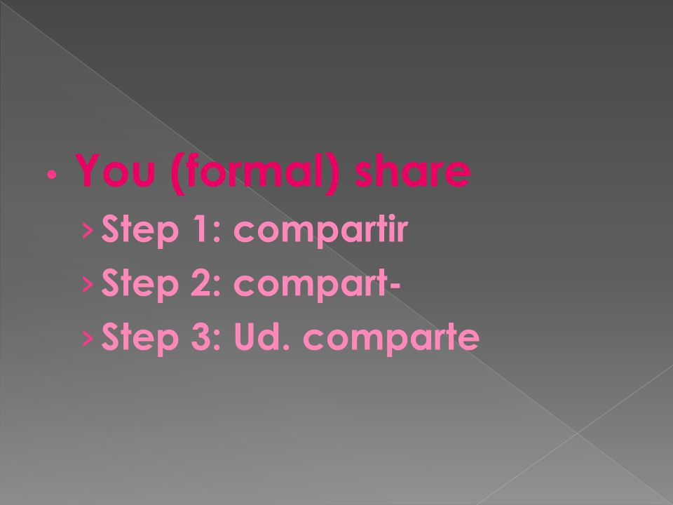 You (formal) share › Step 1: compartir › Step 2: compart- › Step 3: Ud. comparte