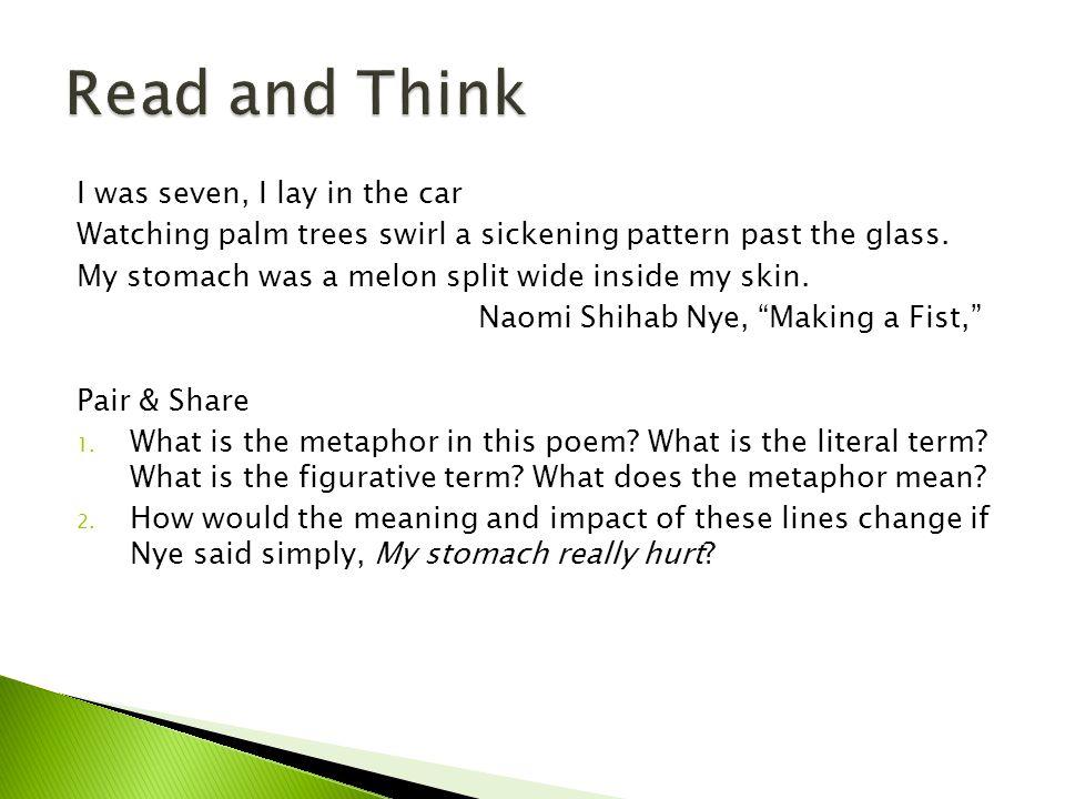 Rewrite the figurative term in Nye's metaphor.