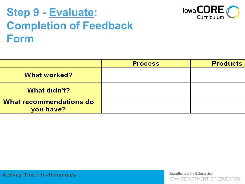 Step 9 - Evaluate: Completion of Feedback Form Activity Time: 10-15 minutes