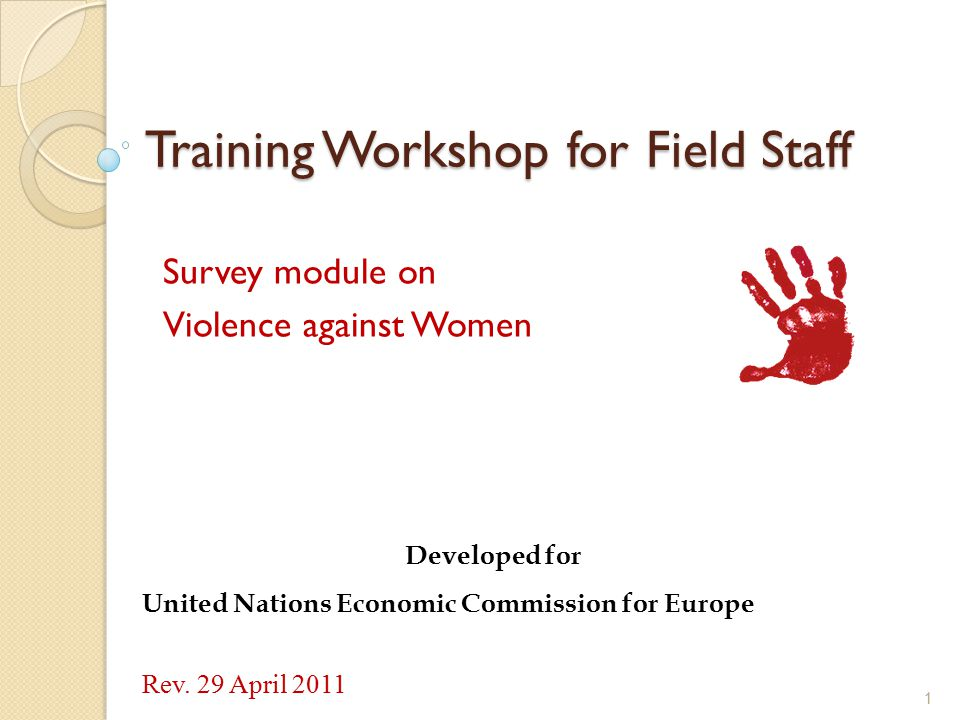 Training Workshop for Field Staff Survey module on Violence against Women 1 Developed for United Nations Economic Commission for Europe Rev. 29 April