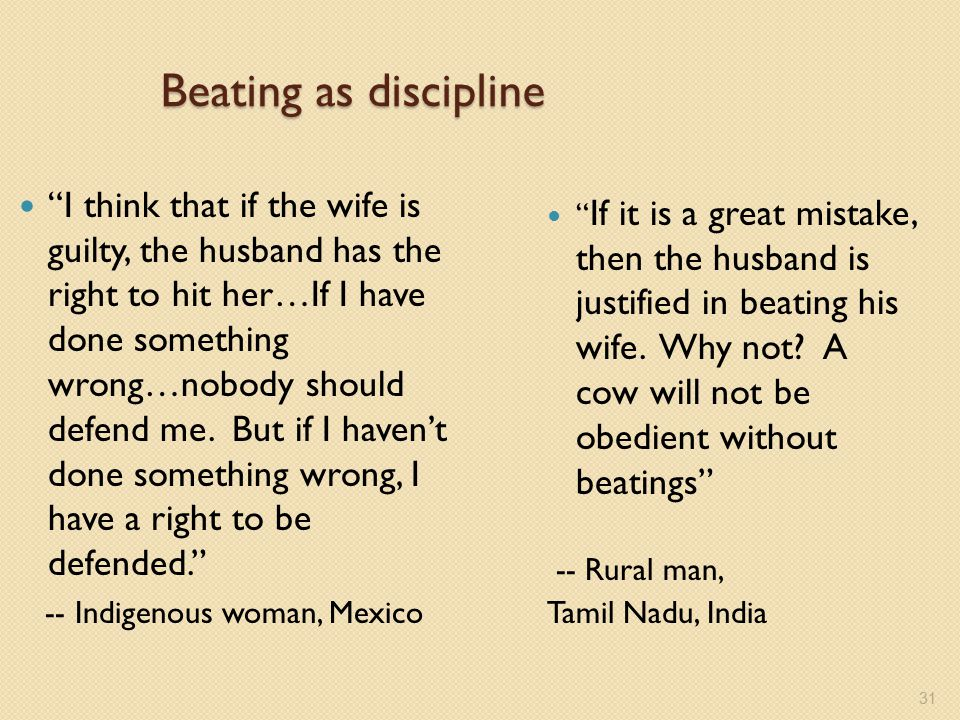"Beating as discipline ""I think that if the wife is guilty, the husband has the right to hit her…If I have done something wrong…nobody should defend me"
