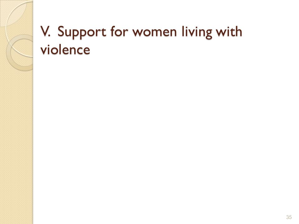 V. Support for women living with violence 35